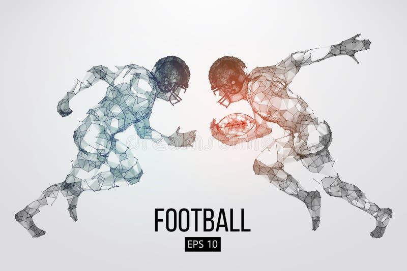 Silhouet van een Amerikaanse voetbalsterdeeltjes, lijnen en driehoeken op achtergrond rugby Vector illustratie stock illustratie