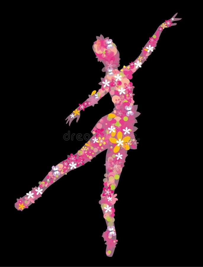 Silhouet van een ballerina op de zwarte achtergrond stock illustratie