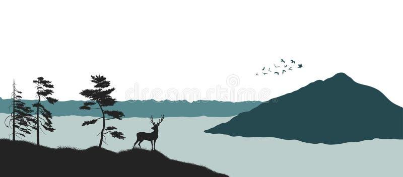 Silhouet van een bergmeer Panorama van een bos met een hert Landschap van wilde aard stock illustratie
