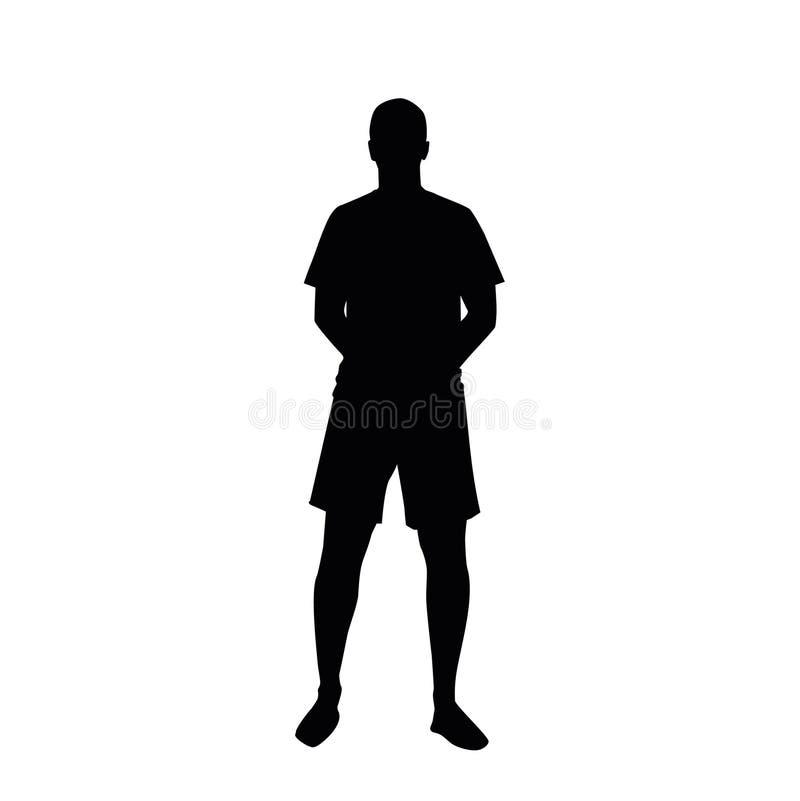 Silhouet van een bevindende mens in borrels, handen achter zijn rug royalty-vrije illustratie