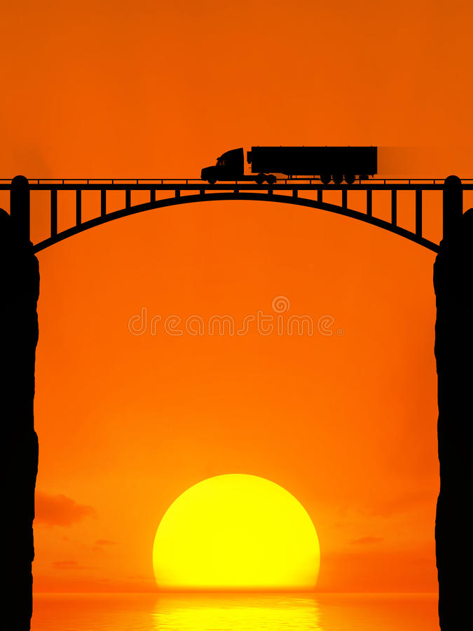 Silhouet van een bewegende vrachtwagen op de brug vector illustratie