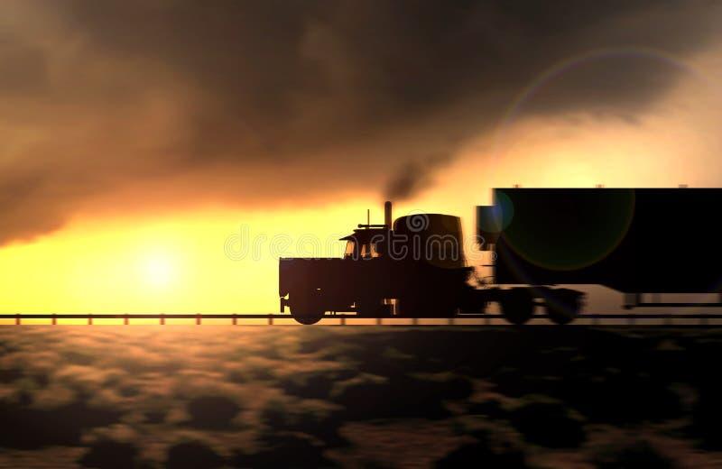 Silhouet van een bewegende vrachtwagen op de weg stock illustratie