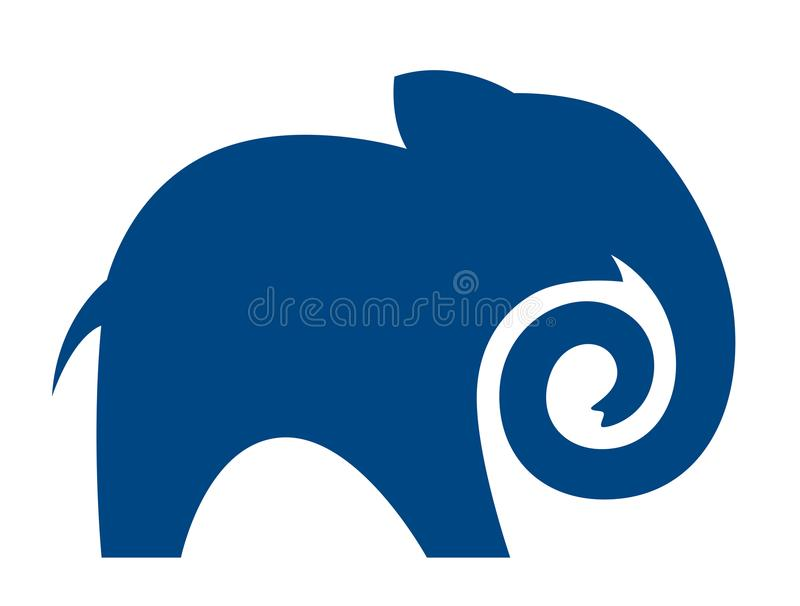 Silhouet van een blauwe olifant met een verdraaide boomstam royalty-vrije illustratie