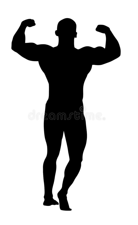 Silhouet van een bodybuilder royalty-vrije illustratie