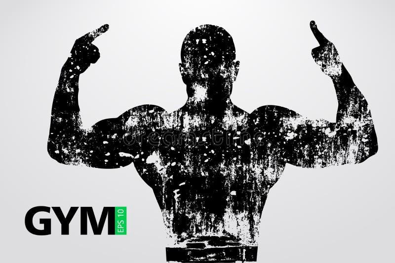 Silhouet van een bodybuilder De vector van het gymnastiekembleem Vector illustratie stock illustratie