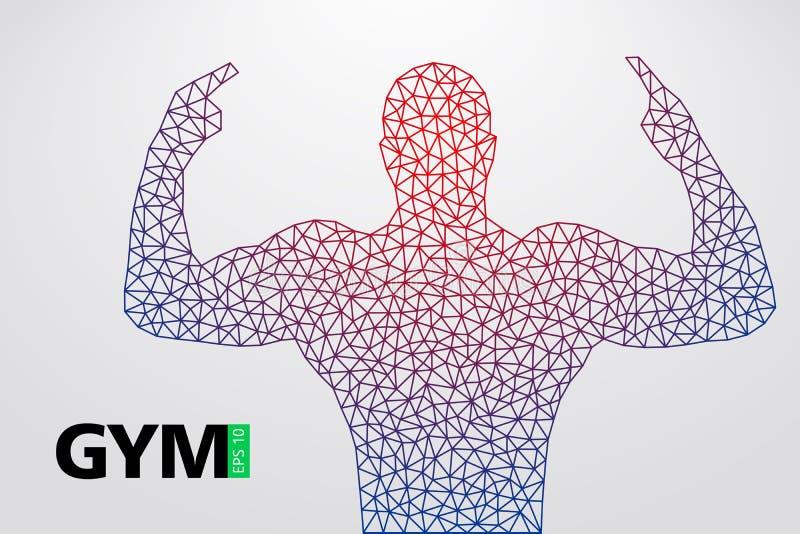 Silhouet van een bodybuilder De vector van het gymnastiekembleem Vector illustratie vector illustratie