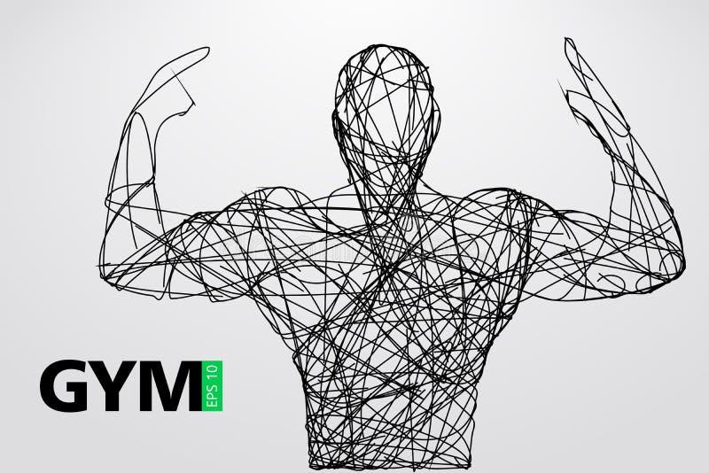 Silhouet van een bodybuilder De vector van het gymnastiekembleem Vector illustratie royalty-vrije illustratie