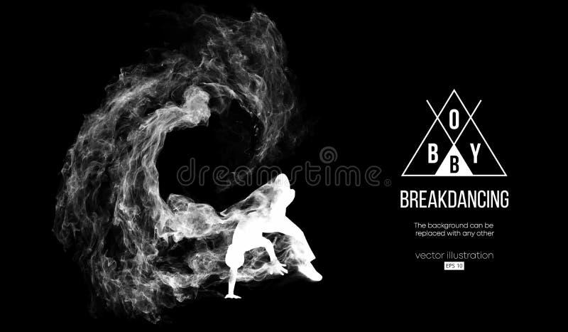 Silhouet van een breakdancer, mens, breker het breken royalty-vrije illustratie