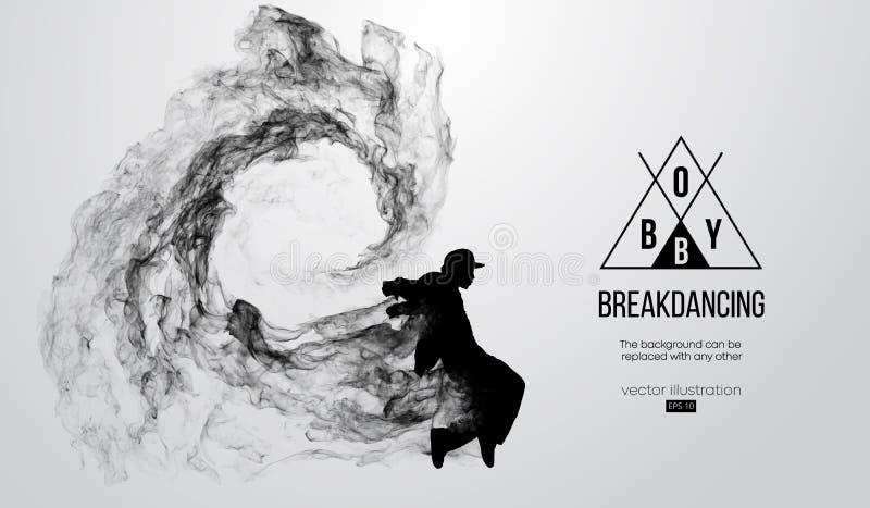 Silhouet van een breakdancer, mens, breker het breken stock illustratie