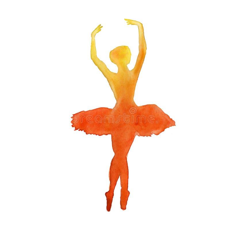 Silhouet van een danser ballet watercolor stock illustratie