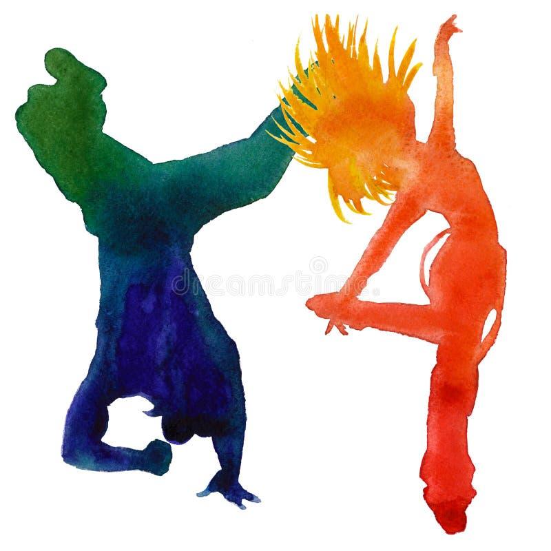 Silhouet van een danser Hip Hop-dans Geïsoleerd op een witte achtergrond De illustratie van de waterverf stock illustratie