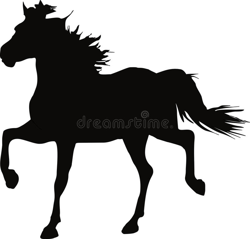 Silhouet van een dravend paard royalty-vrije illustratie
