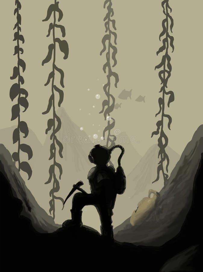Silhouet van een duiker vector illustratie