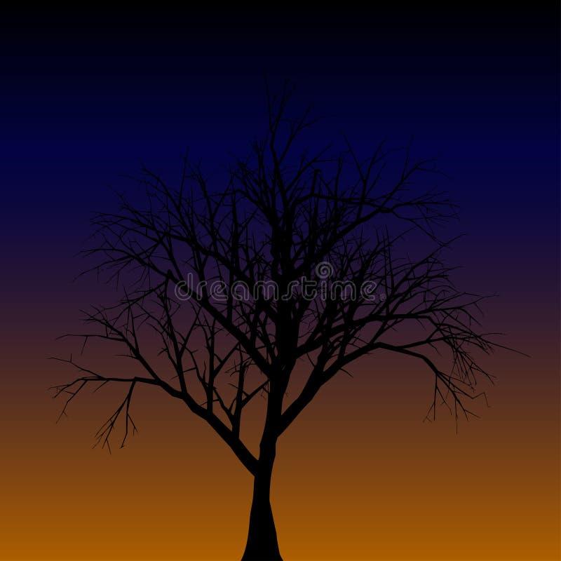 Silhouet van een Eenzame Boom Vector illustratie EPS10 royalty-vrije illustratie
