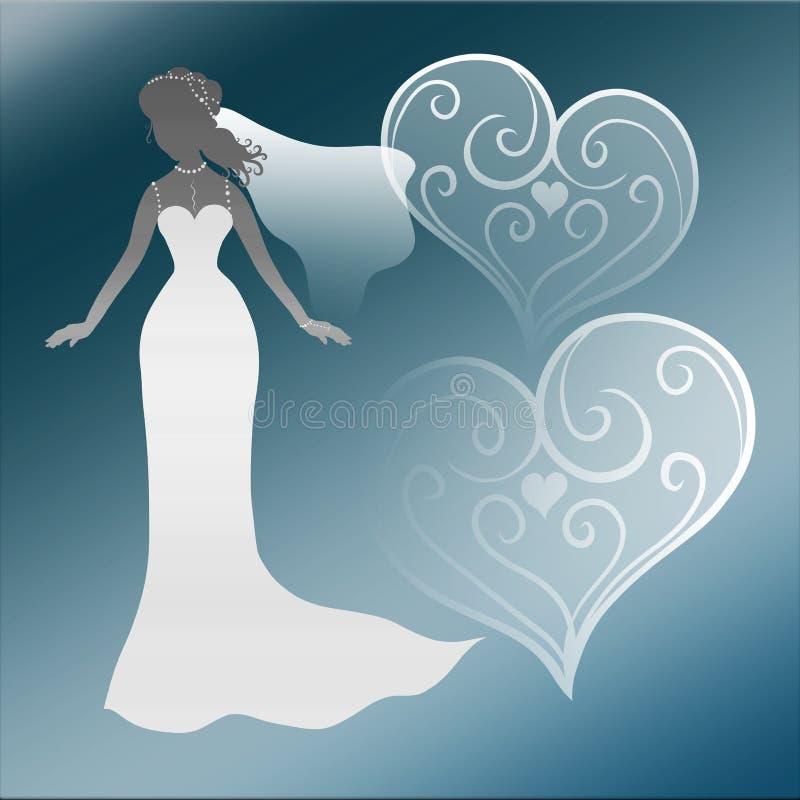Silhouet van een elegante bruid, in een lange huwelijkskleding tegen royalty-vrije illustratie