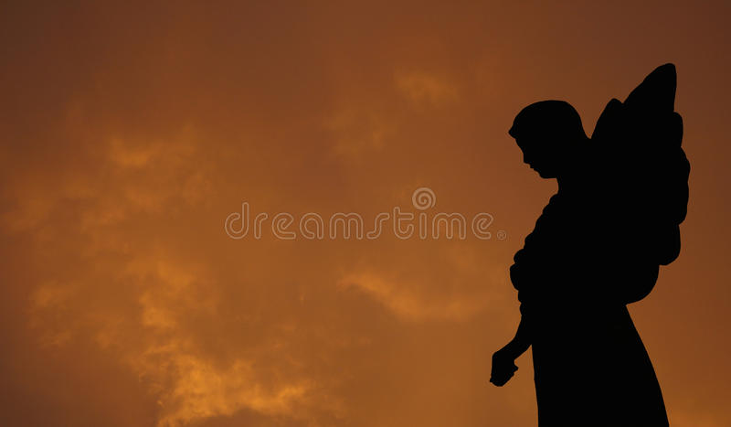 Silhouet van een Engel royalty-vrije stock afbeelding
