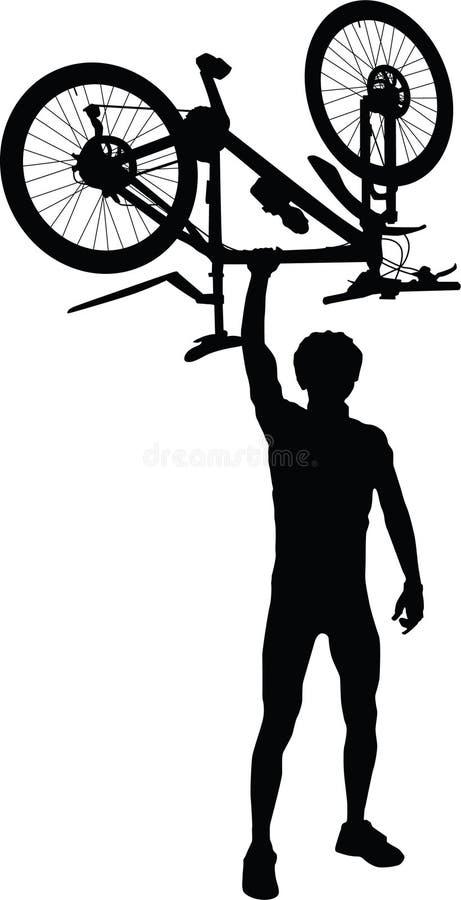 Silhouet van een fietser met in hand fiets stock illustratie