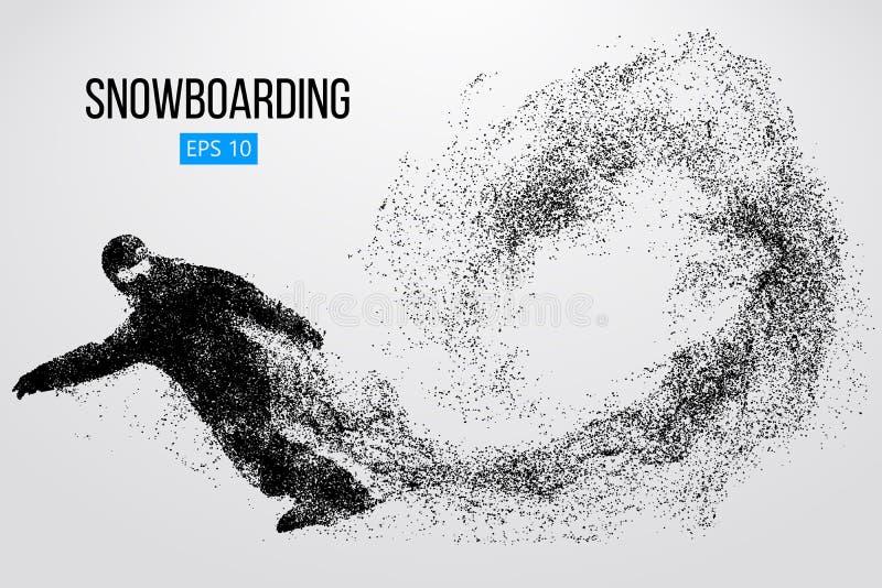 Silhouet van een geïsoleerde snowboarder Vector illustratie
