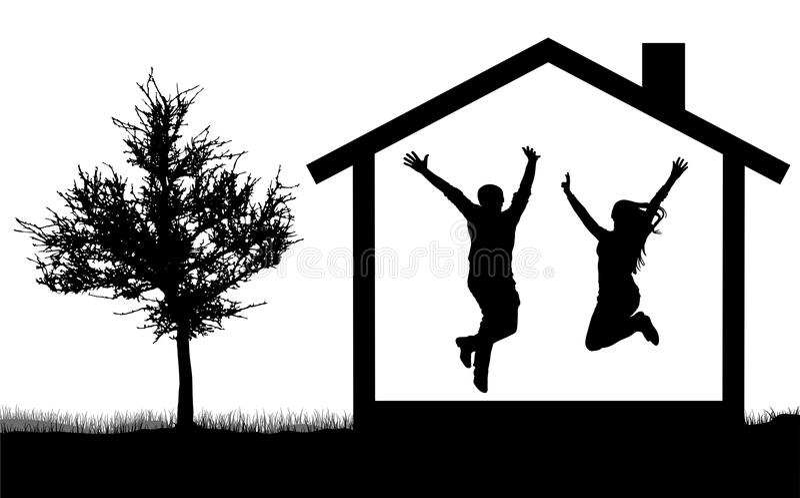 Silhouet van een gelukkig jong paar in huis het springen vector illustratie