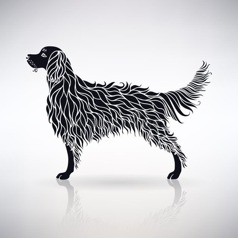Silhouet van een Gestileerde Hond vector illustratie