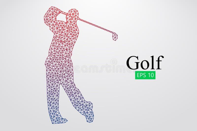 Silhouet van een golfspeler Vector illustratie