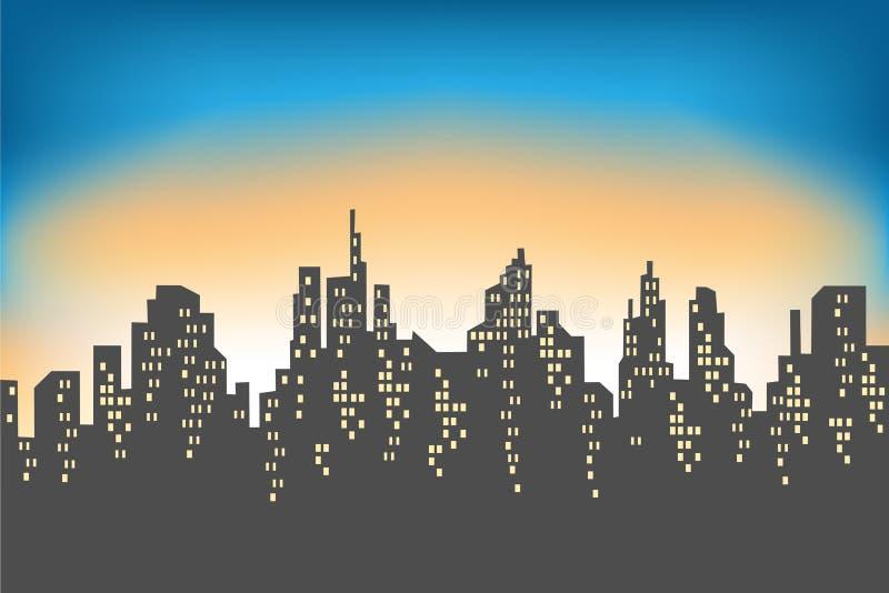 Silhouet van een grote stad tegen de achtergrond van een lichte ochtendhemel De het toenemen zon verlicht alles De stad is royalty-vrije illustratie