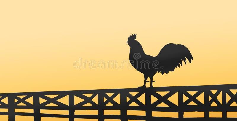 Silhouet van een haanzitting op een houten omheining op platteland stock foto