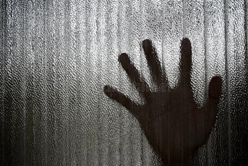Silhouet van een hand de gevangen te nemen uitdrukking, onduidelijk beeld stock afbeeldingen