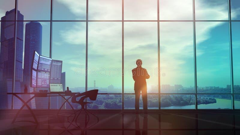 Silhouet van een handelaar in het bureau royalty-vrije illustratie