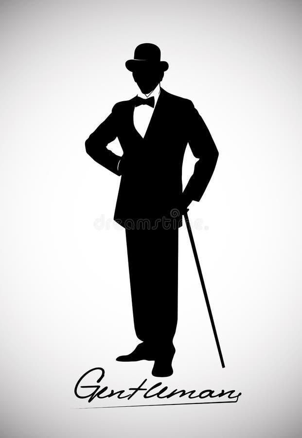 Silhouet van een heer in een smoking stock illustratie