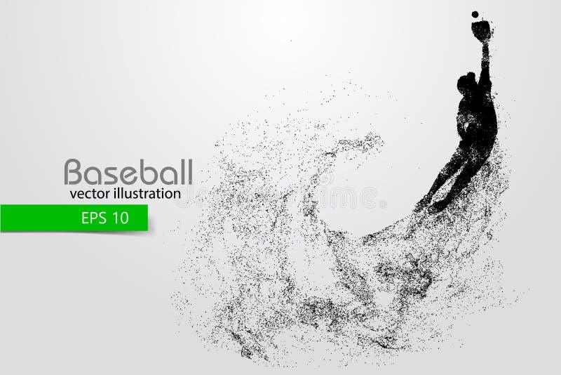 Silhouet van een honkbalspeler Vector illustratie