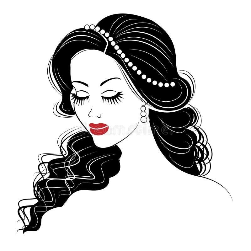 Silhouet van een hoofd van een zoete dame Het meisje toont haar kapsel op lang en middelgroot haar De vrouw is mooi en modieus stock illustratie