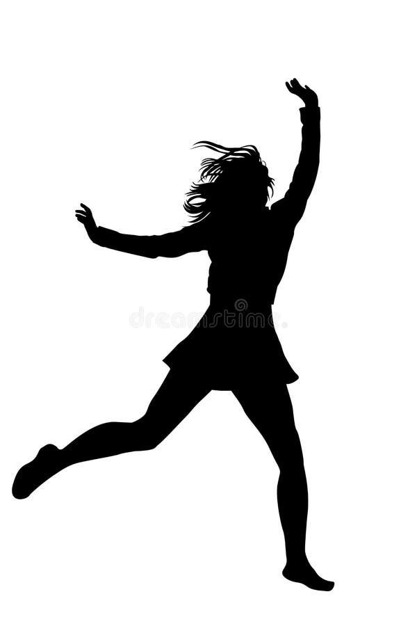 Silhouet van een jong meisje die met omhoog handen springen vector illustratie