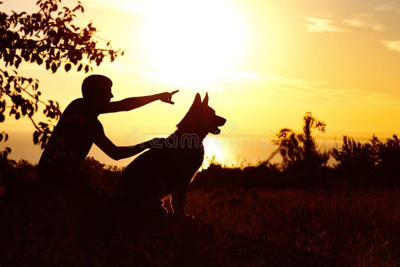 Silhouet van een jonge mens die met een hond op het gebied bij zonsondergang lopen, jongen met zijn huisdier die van aard, profie royalty-vrije stock foto's