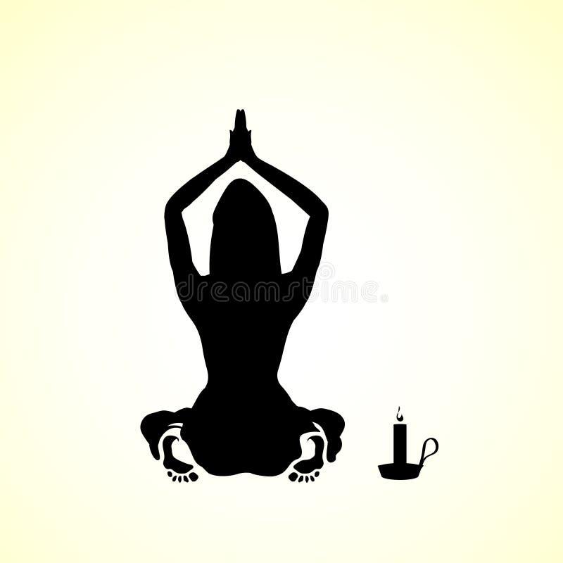 Silhouet van een jonge vrouw, meisje het bidden pictogram - illustratie door de schetsmalplaatje van het kaarslichtbeeldverhaal vector illustratie