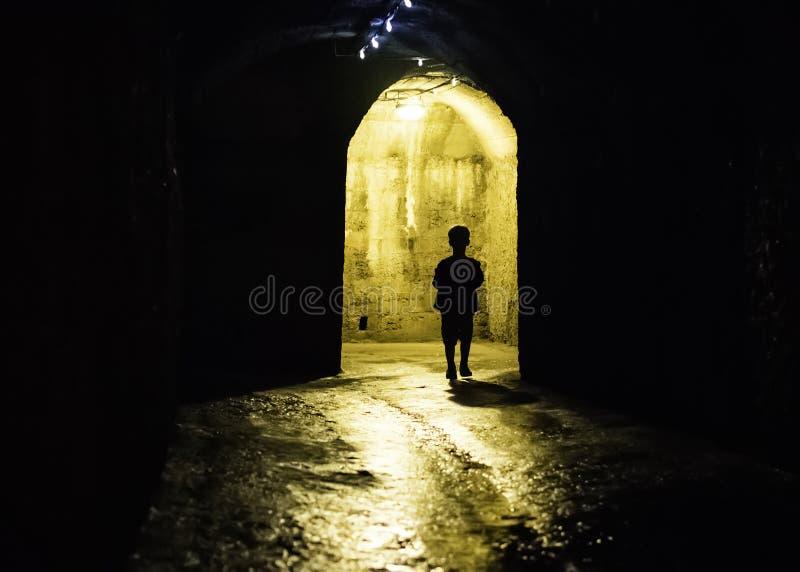 Silhouet van een jongen in een donkere tunnel stock foto's