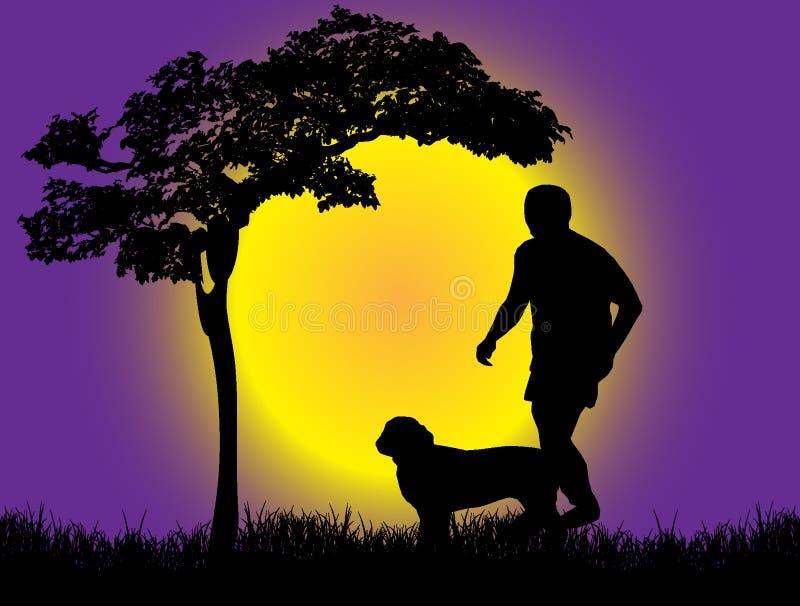 Silhouet van een Jongen met hond vector illustratie
