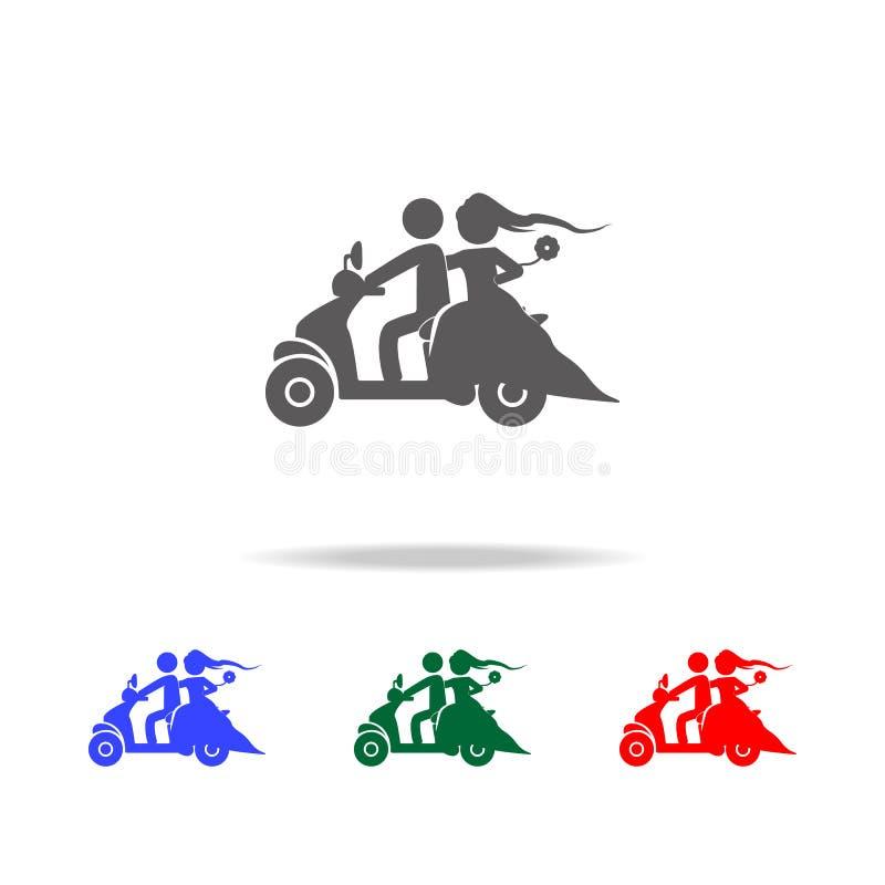 silhouet van een jonggehuwdepaar op een autopedpictogram Elementen van huwelijk in multi gekleurde pictogrammen Grafisch het ontw royalty-vrije illustratie