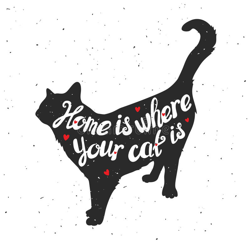 Silhouet van een kat Hand getrokken typografiepost royalty-vrije illustratie