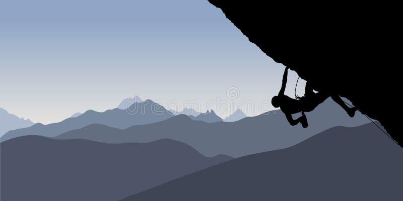 Silhouet van een klimmer stock illustratie