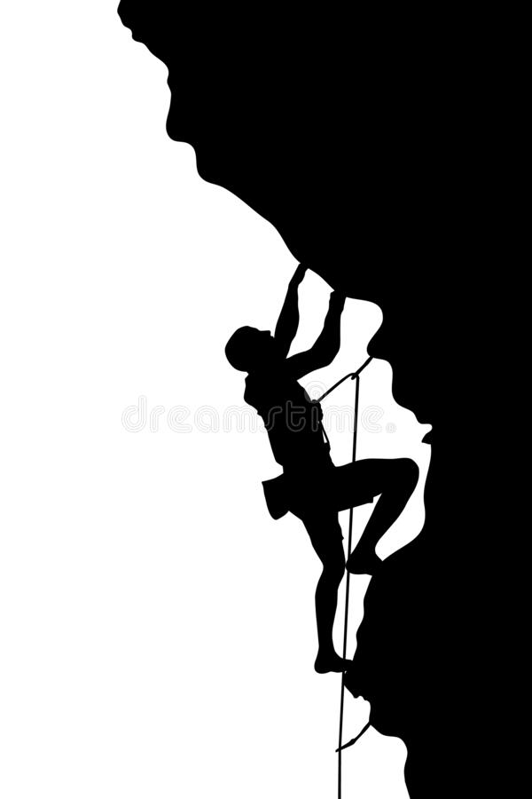 Silhouet van een klimmer vector illustratie