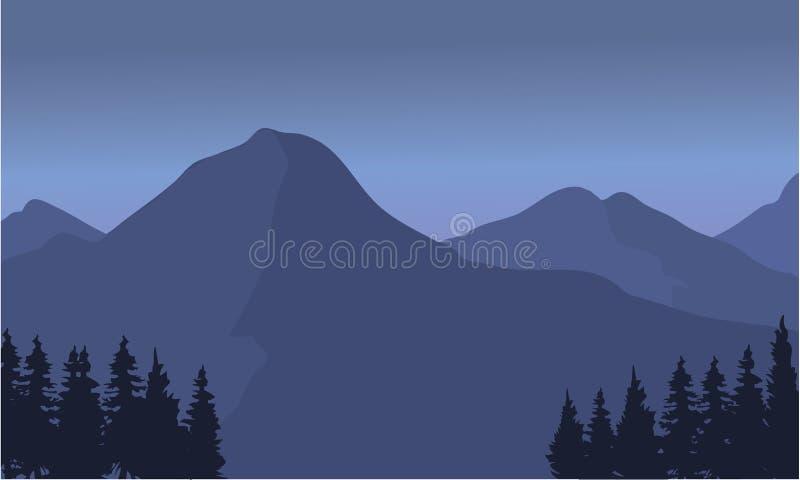 Silhouet van een lang berglandschap stock illustratie