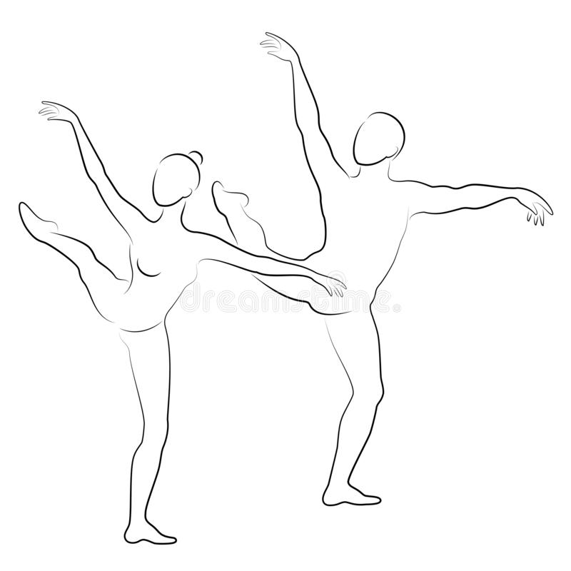 Silhouet van een leuke dame en de jeugd, dansen zij ballet De vrouw en de man hebben mooie slanke cijfers Meisjesballerina en stock illustratie