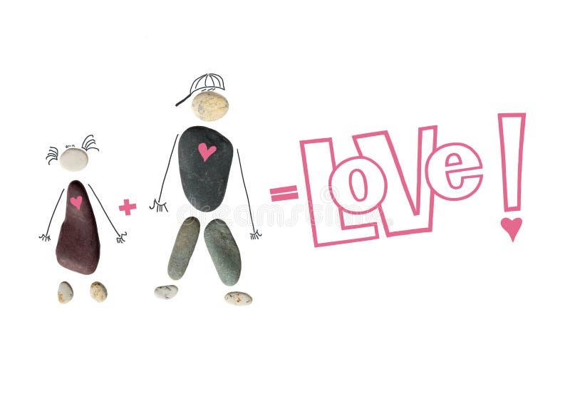 Silhouet van een man en een vrouw, een paar van stenen De inschrijvings` Liefde! `, teken plus en gelijke Conceptueel beeld van l stock afbeelding