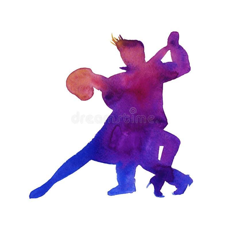 Silhouet van een man en een vrouw het dansen tango Geïsoleerde waterco stock illustratie