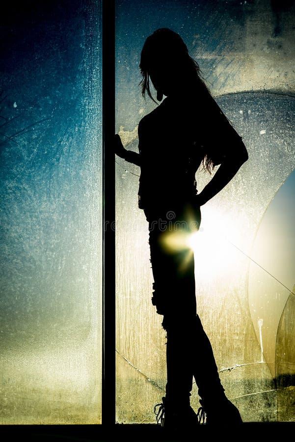 Silhouet van een meisje royalty-vrije stock afbeelding