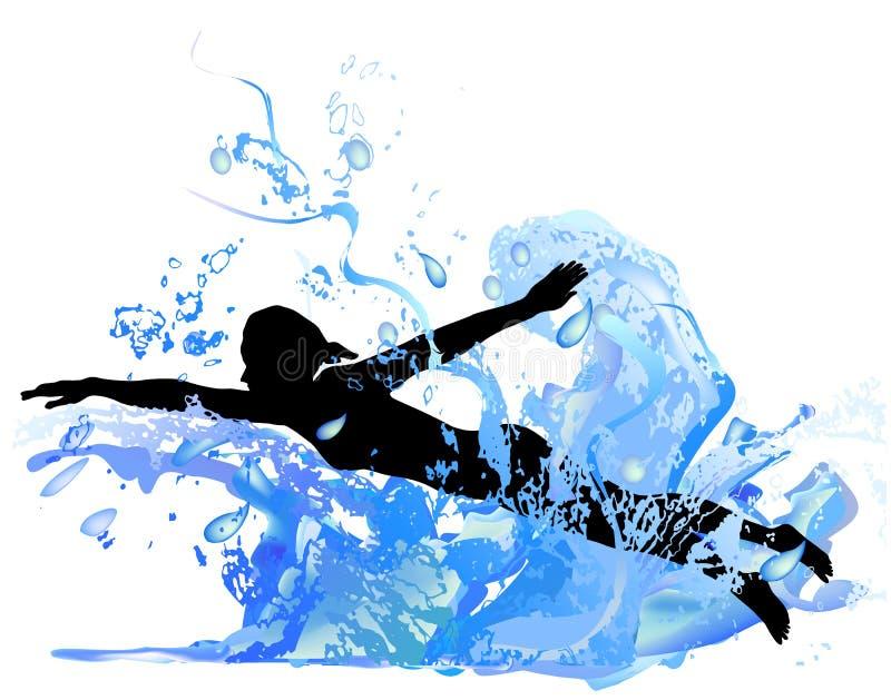 Silhouet van een meisje die in de golven zwemmen stock illustratie