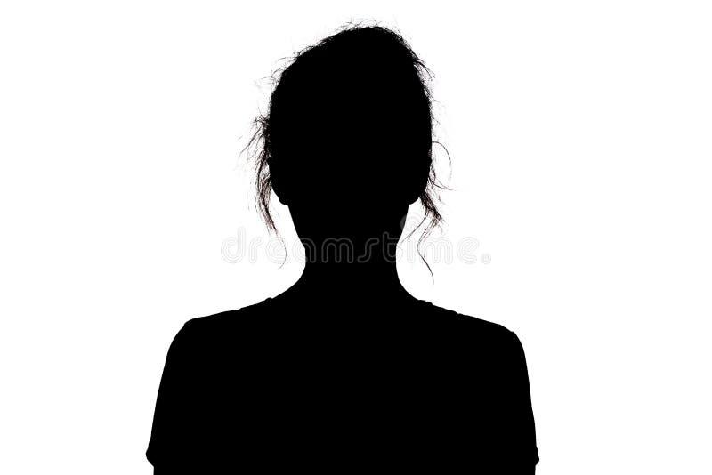 Silhouet van een meisje die vol vertrouwen, het hoofd van een jonge vrouw met een krul op een wit geïsoleerde achtergrond vooruit stock fotografie