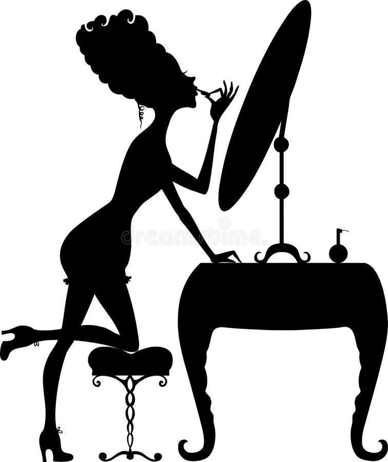 Silhouet van een meisje met lippenstift bij de spiegel vector illustratie