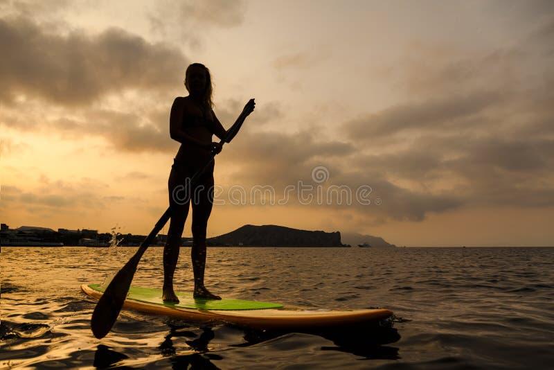 Silhouet van een meisje op Tribune op Peddelraad stock fotografie